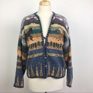 ICELANDIC DESIGN equestrian button-up sweater